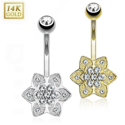 14K White Gold Daisy Belly Ring