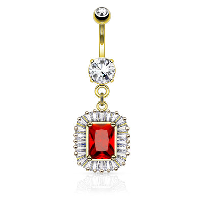 Ruby Dangly Belly Button Ring