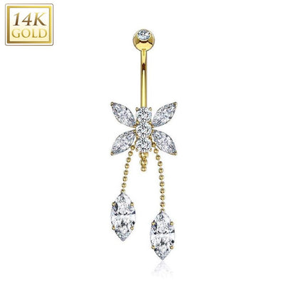 Marquise Gem Dragonfly 14k Solid Yellow Gold Dangle Navel Ring