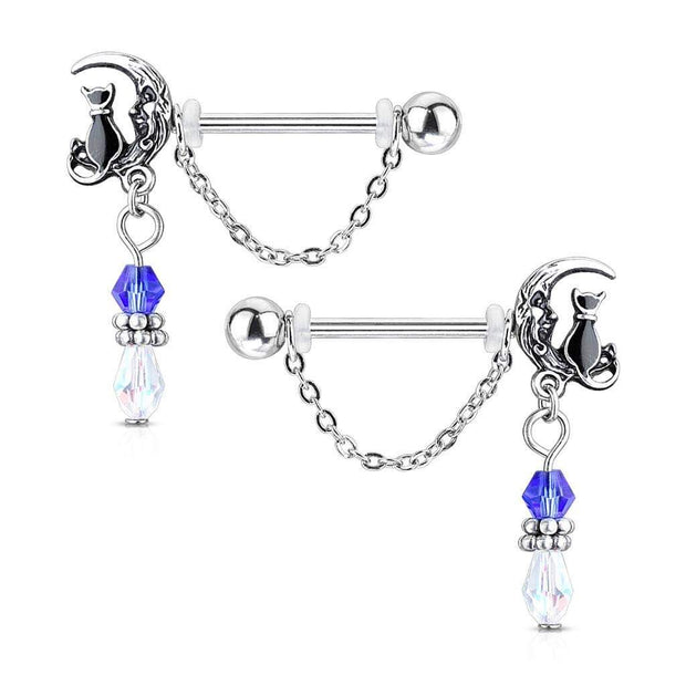 The Cat and The Moon Dangle Nipple Barbell Pair