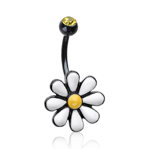 Black Daisy Flower Belly Ring