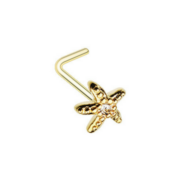 Yellow Gold Diamanté Starfish L-Shape Nose Ring