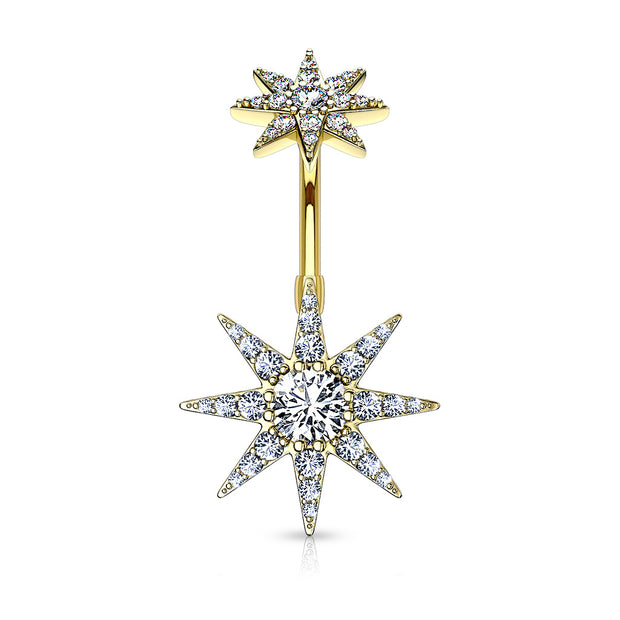 Crystal Pave Starburst Internally Threaded Belly Bar in Gold