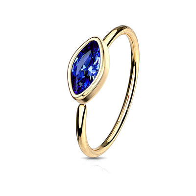 Sapphire Marquise Gem Bendable Hoop Ring for Body Piercings