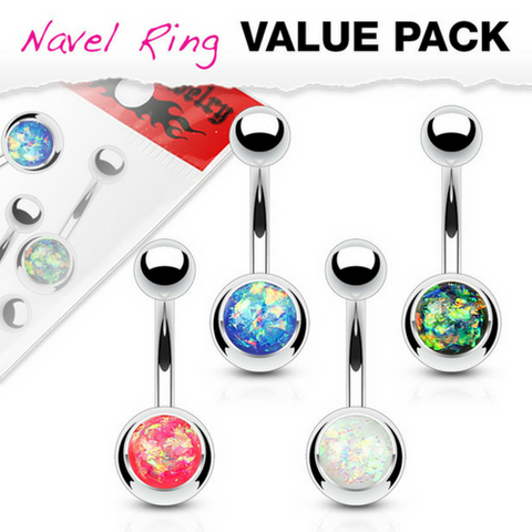 Value Pack 4 X Surgical Steel Opal Belly Rings