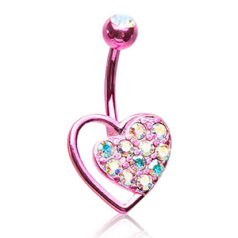 Pink Posh Passion Heart Belly Ring