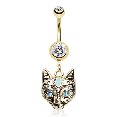 Golden Egyptian Goddess Bastet Cat Belly Ring