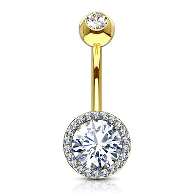 Calista Round Cut Crystal Halo Navel Piercing in Gold