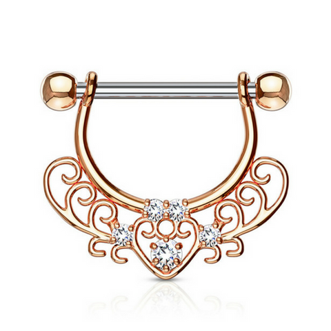 Jewelled Filigree Heart Dangly Nipple Ring in Rose Gold