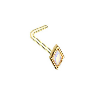 Golden Illuminated Diamond L-Shape Nose Ring