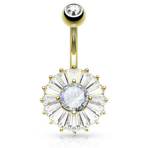Golden Isabella Diamond CZ Belly Piericng