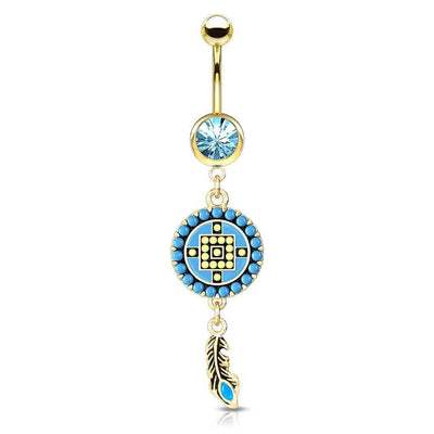 Gold Plate Aztec Belly Ring. Turquoise and Yellow. 14g, 10mm Belly Bar