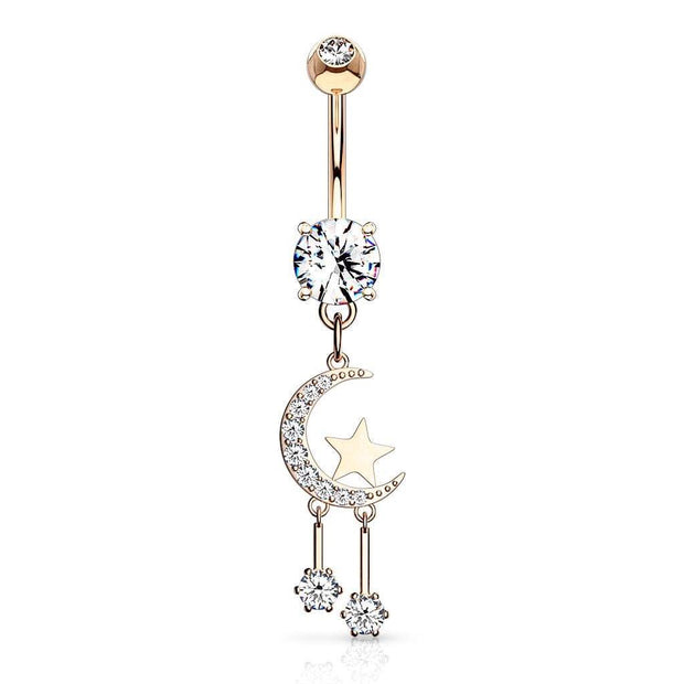 14k Rose Gold Moon and Star Belly Button Piercing Jewellery