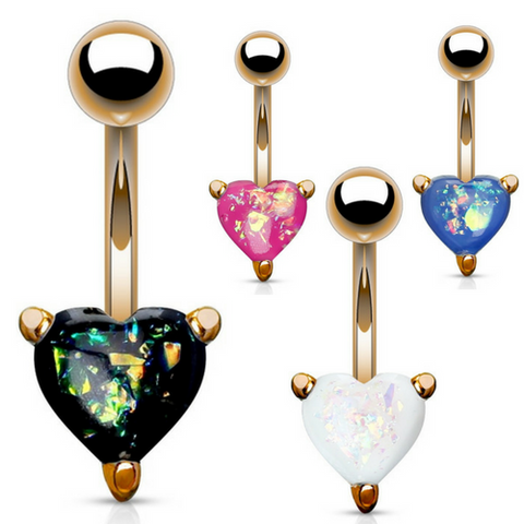 Rose Gold Classic Solitaire Heart Opal Belly Rings