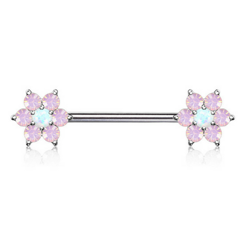 Pink Opalescent Flower Nipple Ring