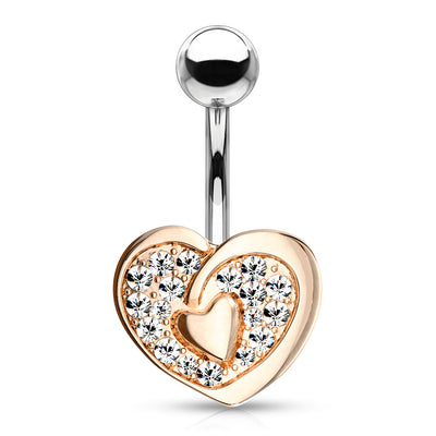 Romantic Lightweight Love Heart Belly Ring. Rose Gold, 14g, 10mm