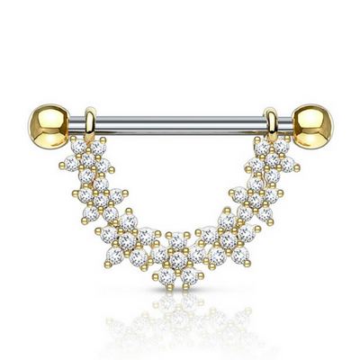Jewelled Daisy Chain Dangly Nipple Ring in Yellow Gold