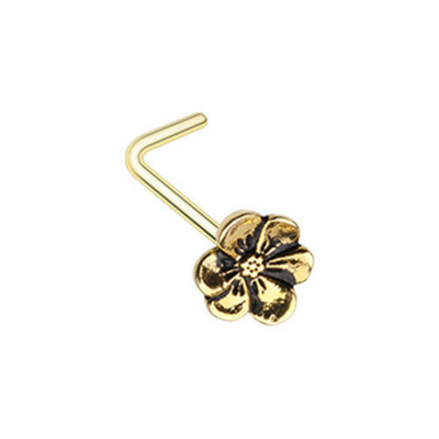 Golden Hellebore Flower L-Shape Nose Ring
