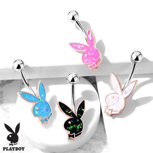 Official Playboy Classic Belly Rings in Opal. 14k Rose Gold Plated