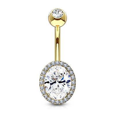 Calista Oval Cut Crystal Halo Belly Piercing Jewellery in Gold