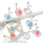 Romantic Classic Love Heart Belly Ring. 14g, 10mm, 316L Surgical Steel