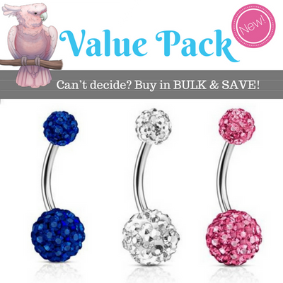 3 X Motley pave belly rings in the pack.