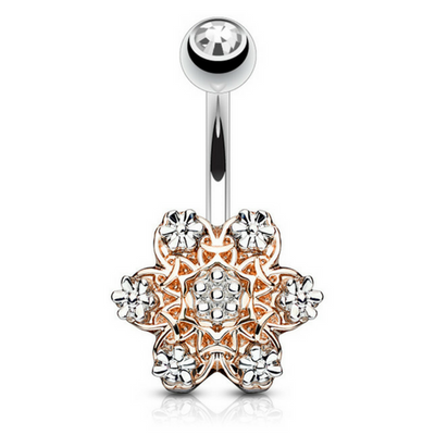 Filigree Floriat Belly Bar in Rose Gold