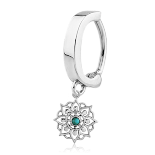 925 Silver Mandala and Turquoise Belly Huggy