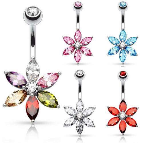 Crystal Daisy Belly Button Rings