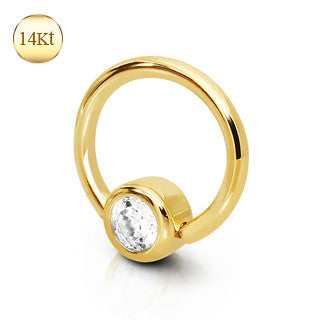 Solid Gold Captive Bead Navel Ring
