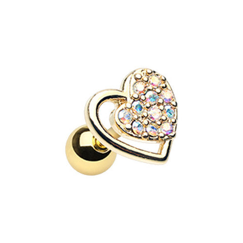 Golden Dreamy Heart Tragus Cartilage Earring