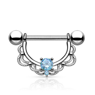 Blue Gem Filigree Nipple Ring