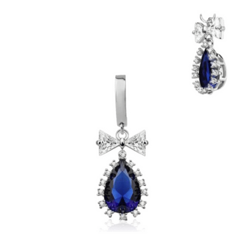 Regal Blue Crystal Dangly Belly Huggy