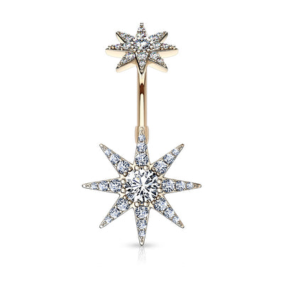 Crystal Pave Starburst Internally Threaded Belly Bar in Rose Gold
