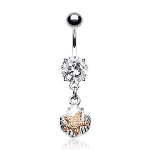 Cute Beach Themed Surgical Steel Dangly Belly Ring