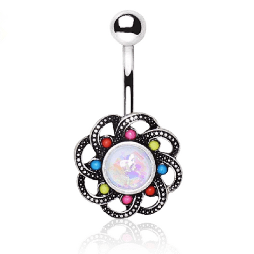 Surgical Steel Colourful Cirucular Bohemian Navel Bar