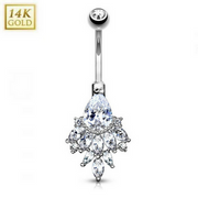 14k Solid Gold CZ Cluster Fan Belly Button Ring