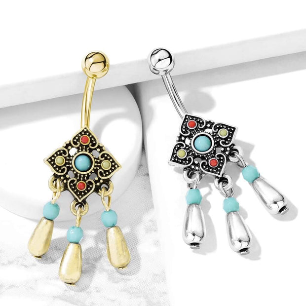 316L Bohemian Belly Dangle. Aqua, Ruby & Lemon. 14g 10mm Belly Bar