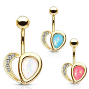Romantic Classic Love Heart Belly Ring. Yellow Gold, 14g, 10mm