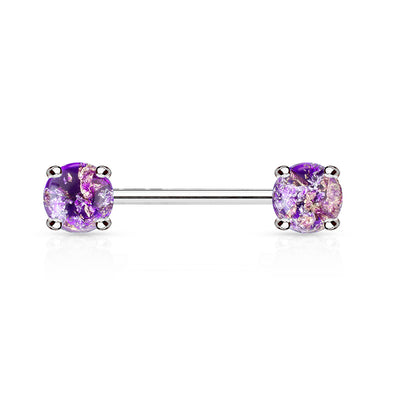 Lava Sparkles Purple Opal Nipple Barbell
