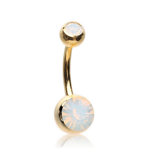 Gold Plated Basic Style Belly Ring with Opalite Gems