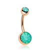 Jade Opalite Gem Belly Bar in Rose Gold