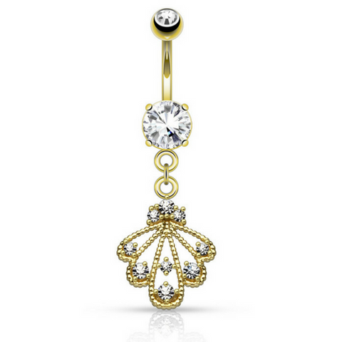 Extra Long Yellow Gold Plated Belly Button Ring