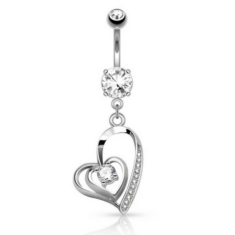Surgical Steel Heart Belly Ring