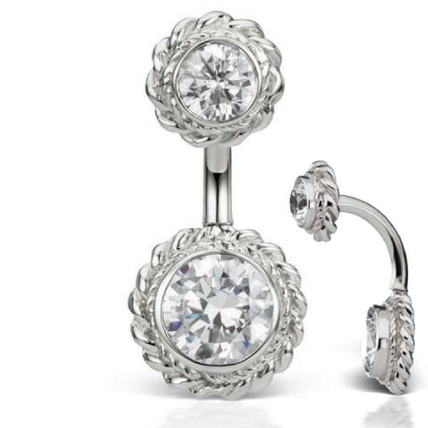 Maria Tash Designer Gem Braid Solitaire 14k White Gold Belly Barbell