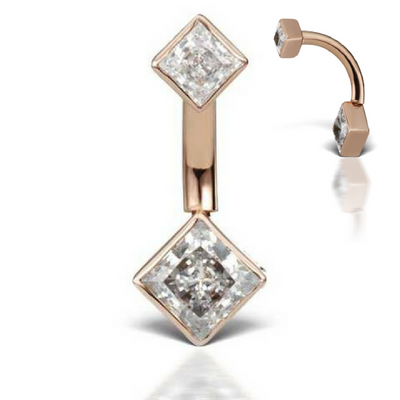 Cubic Zirconia Princess Solitaire 14k Gold Belly Piercing Bar