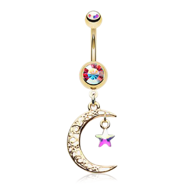 Moon and Star Belly Button Ring