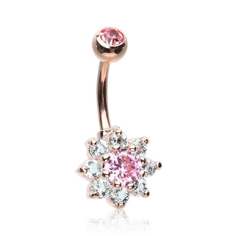 Petite Rose Gold Crystal Flower Belly Bar