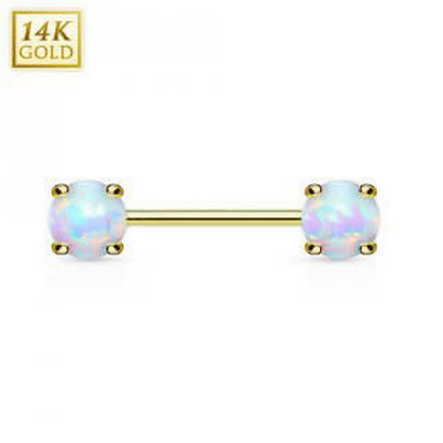 Double Opal 14k Solid Yellow Gold Nipple Bar