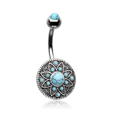 Boho Turquoise Shield Belly Rings